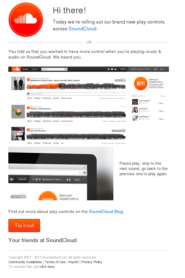 Screenshot of SoundCloud: All new player controls announcment email